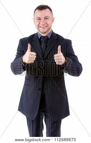 Portrait Of Smile And Happy Businessman Show Two Thumbs Up, Isolated On White