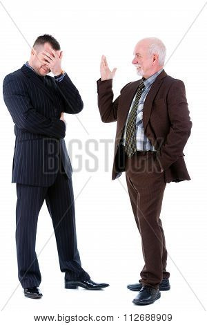 Senior And Junior Handsome Business Mans People Discussing. Isolated On White Bacground