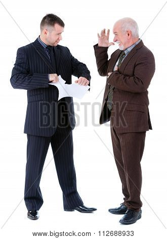 Young And Old Businessman's Argue And Old Man Getting A Heart Attack. Isolated On White