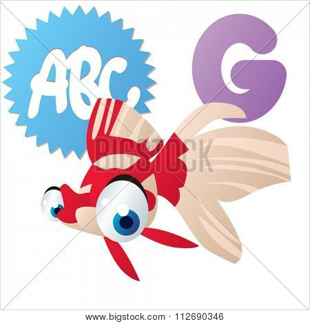 vector cartoon comic animals ABC for kids: G is for Goldfish / Illustration for apps, books, stickers, badges or games