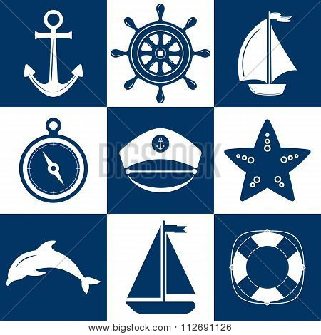 Marine Symbol. Nautical Design Elements.