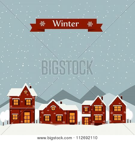 Winter Landscape With Cartoon Houses