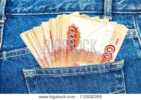 Russian Rouble Banknotes In The Back Jeans Pocket