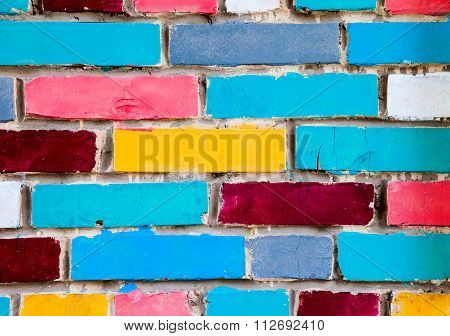 Colorful Urban Brick Wall As Creative Background