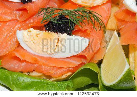 Baguette, Smoked Salmon, Egg, Caviar, Orange