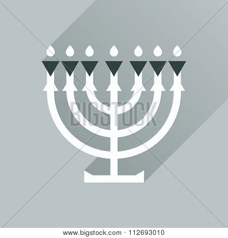 Flat icon with long shadow Hanukkah candleholder