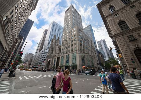 USA, NEW-YORK - AUG 23, 2014: Cityscape with traffic and skyscrapers.