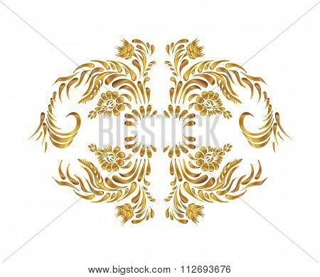 Golden floral pattern.