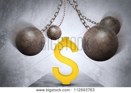 Ball and chain with dollar sign