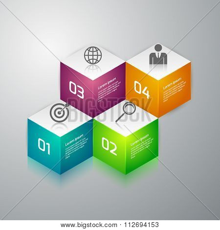 Vector illustration infographics 3d cubes