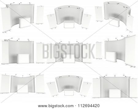 Trade Show Booth White And Blank Set