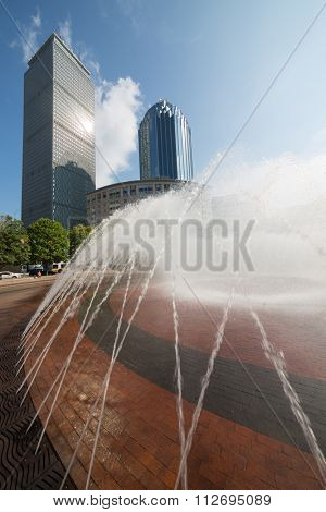 USA, BOSTON - 06 SEP, 2014: Cityscape with Prudental Center and fountain at the autumn day.