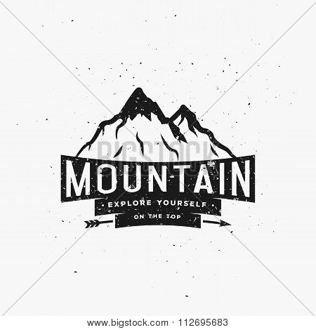 Explore Yourself on The Top. Inspirational Quote on Mountains Typography Illustration.
