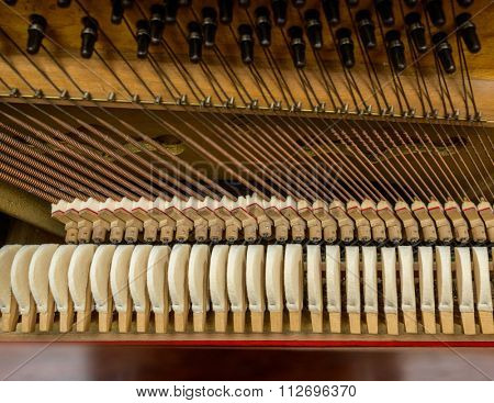 Piano mechanism closeup
