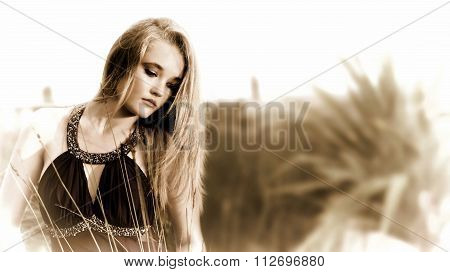 Filtered Photo Of Blonde Lady In Garden