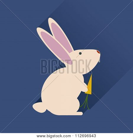 Flat web icon with long shadow rabbit carrot