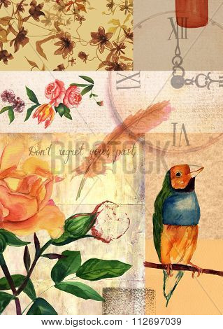 Vintage style collage with roses, finch, clock, stamps, other old papers, quill