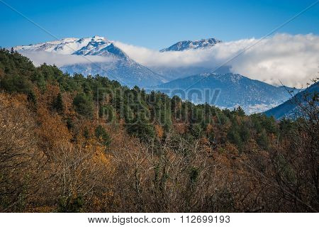 Mountain Landscape With Snow On Peloponnese, Greece