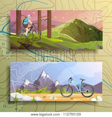 Cycling banners set.