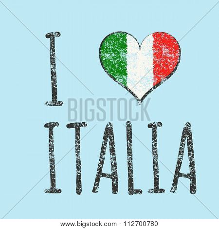 I love italia typography, t-shirt graphics