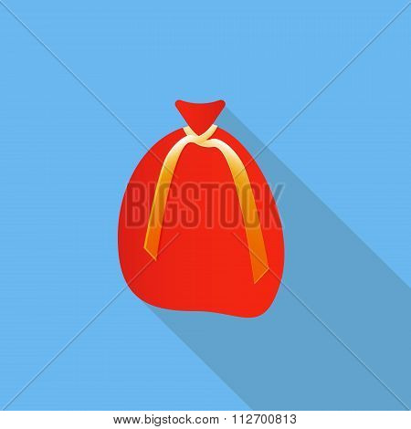 Big red Santa Claus's sack for Christmas gifts and sweets. Flat