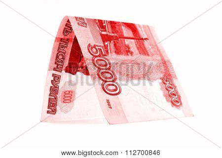 Russian ruble money cottage, rouble crib isolated on white background