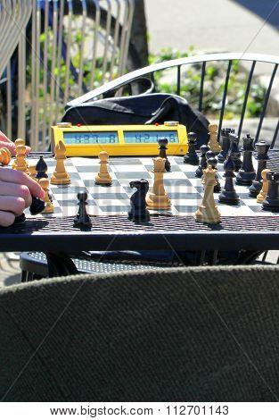 Men playing chess.