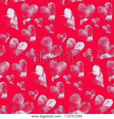 Seamless heart background in pink and white colors.