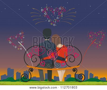 Couple sitting on a bench in the park in the evening and watching fireworks on Valentine's Day. Vect