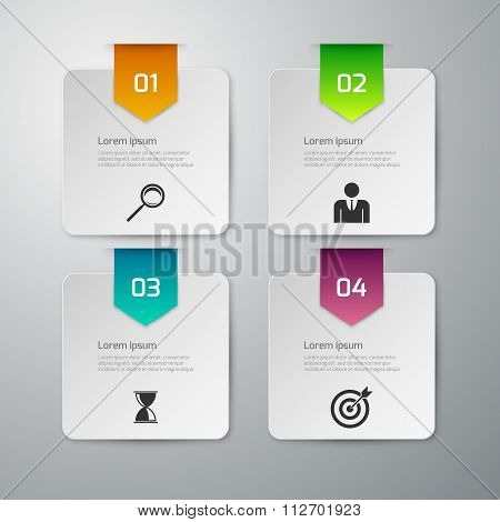 Vector illustration of four square paper