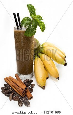 Refreshing  banana  juice with chocolate