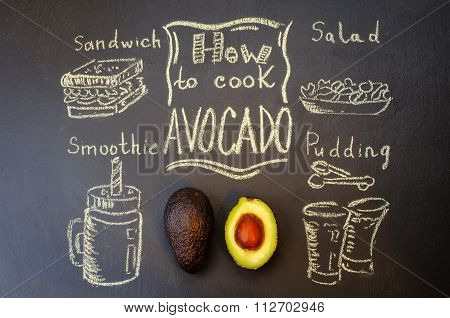 how to cook avocado with avocado on the chalkboard
