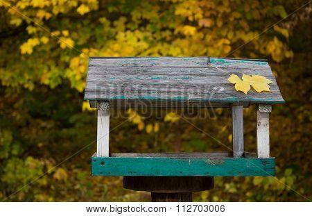 Wooden bird trough