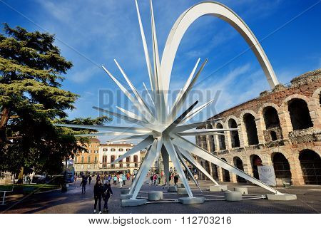 Verona, Italy - December 15: Every Year At Christmas Time, In Verona City Is Assembled A Comet, Desi