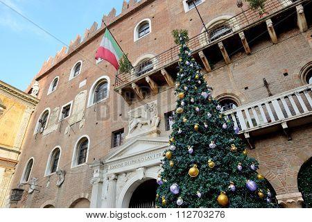 The Christmas Pine Tree Decoration In Verona City, Italy