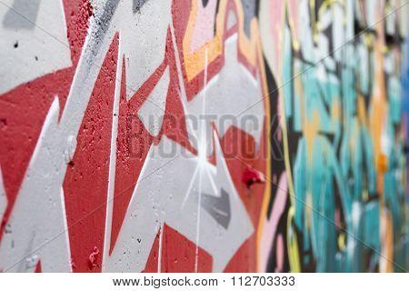 Colorful segment of a graffiti in Spain