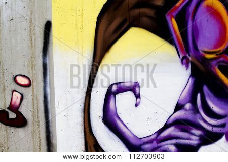 color cartoons, segment of an urban grafitti on wall