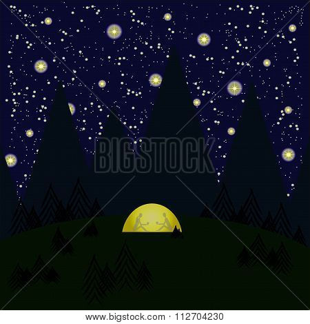 Night, mountains, trees, forest, tent glows yellow, gray shadows of woman and the men in the tent, s