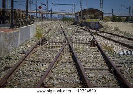 perspective train rails, detail of railways in Spain