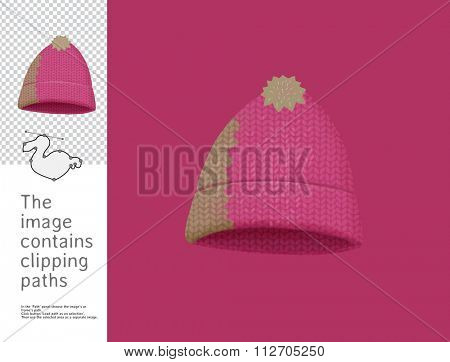 The illustration of the knitted cap.  A part of Dodo collection - a set of educational cards for children. The image has clipping paths, so you can cut the image from the background.