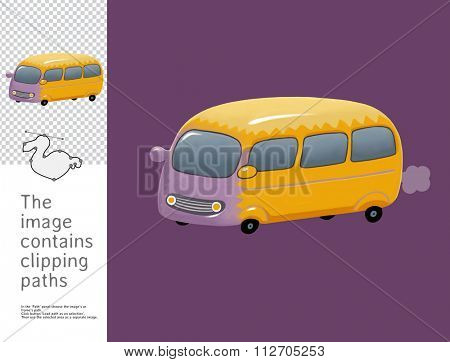 The illustration of the toy yellow bus.  A part of Dodo collection - a set of educational cards for children. The image has clipping paths and you can cut the image from the background.