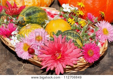 Flowers Various Garden Flowers And Ornamental Gourds In A Basket, Table Setting, Place Setting Flowe