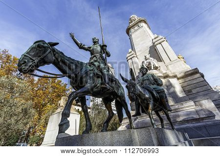 Statues of Don Quixote and Sancho Panza at the Plaza de Espana in Madrid Spain