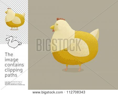 The illustration of the chicken.  A part of Dodo collection - a set of educational cards for children. The image has clipping paths and you can cut the image from the background.