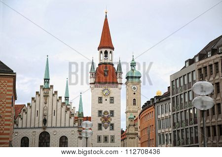 Old Town Hall (altes Rathaus) Building At Marienplatz In Munich, Germany