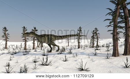monolophosaurus walking on snowy terrain