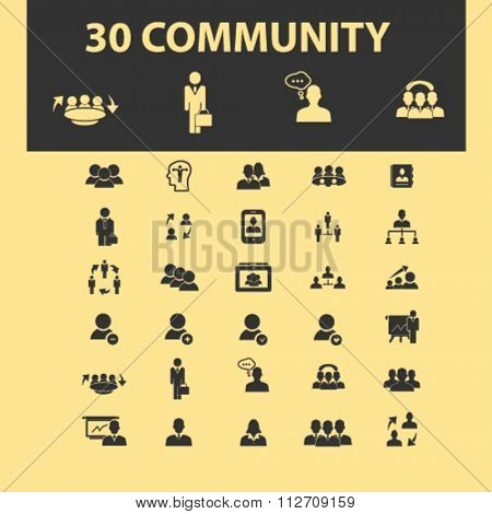 community, human resources, management icons