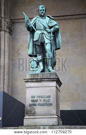 Statue Of Graf V Tilly At The Odeonsplatz - Feldherrnhalle In Munich Germany