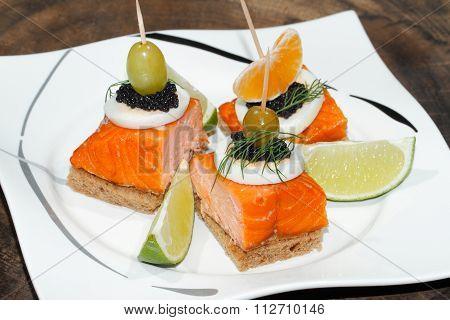 Toast, Smoked Salmon, Egg, Caviar, Orange, Olive, Grape