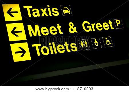 Airport Information Taxis Sign Light